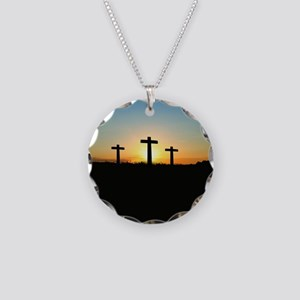 Cross Necklace Circle Charm