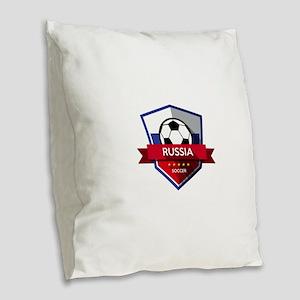 Creative soccer Russia label Burlap Throw Pillow