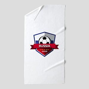 Creative soccer Russia label Beach Towel