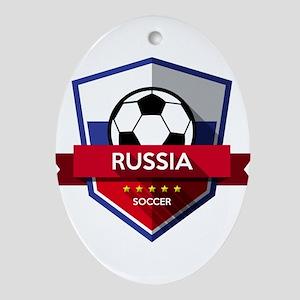 Creative soccer Russia label Oval Ornament