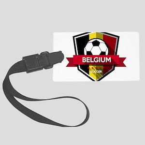 Creative soccer Belgium label Large Luggage Tag