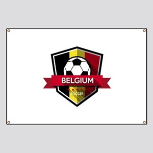 Creative soccer Belgium label Banner