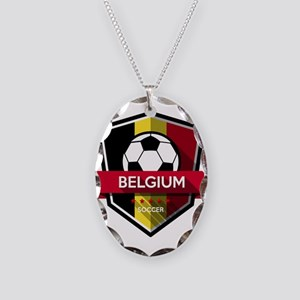 Creative soccer Belgium label Necklace Oval Charm