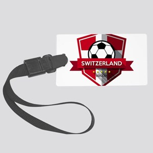 Creative soccer Switzerland labe Large Luggage Tag