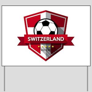 Creative soccer Switzerland label Yard Sign