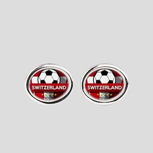 Creative soccer Switzerland label Oval Cufflinks