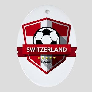 Creative soccer Switzerland label Oval Ornament
