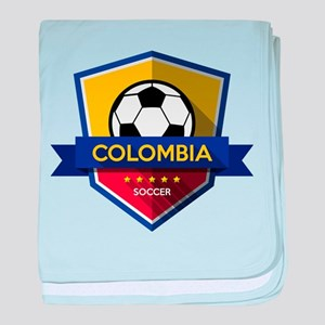 Creative soccer Colombia label baby blanket