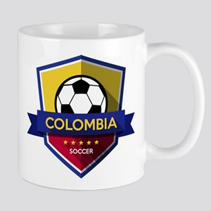 Creative soccer Colombia label Mugs
