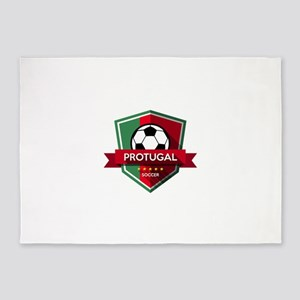 Creative soccer Portugal label 5'x7'Area Rug