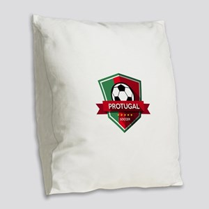 Creative soccer Portugal label Burlap Throw Pillow