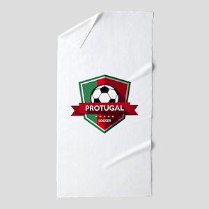 Creative soccer Portugal label Beach Towel