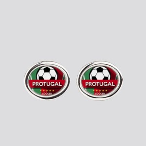 Creative soccer Portugal label Oval Cufflinks