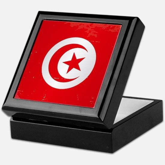 Tunisia Grunge Flag Keepsake Box