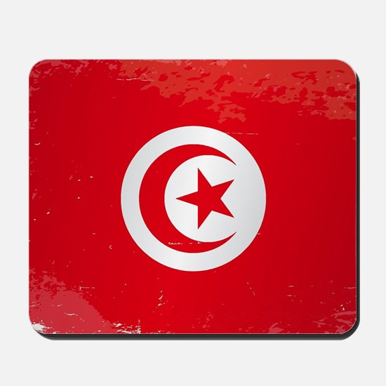 Tunisia Grunge Flag Mousepad