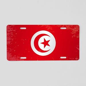 Tunisia Grunge Flag Aluminum License Plate