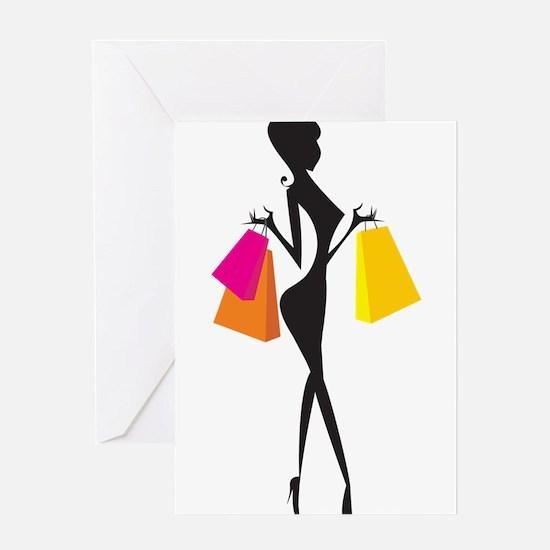 Shopping girl art Greeting Cards