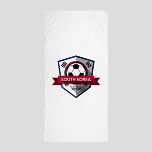 Creative soccer South Korea label Beach Towel