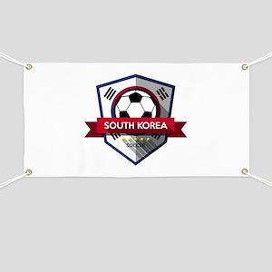 Creative soccer South Korea label Banner