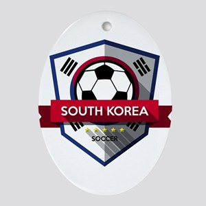 Creative soccer South Korea label Oval Ornament