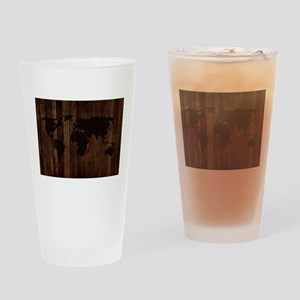 The World Map In Wood Drinking Glass