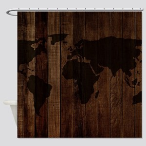 The World Map In Wood Shower Curtain