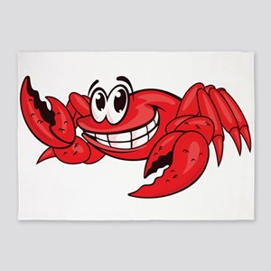 Red Cartoon Crab 5'x7'Area Rug