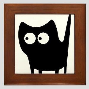 Black wide eyes cat Framed Tile