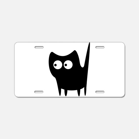 Black wide eyes cat Aluminum License Plate