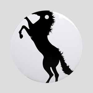 Erected horse silhouette Round Ornament