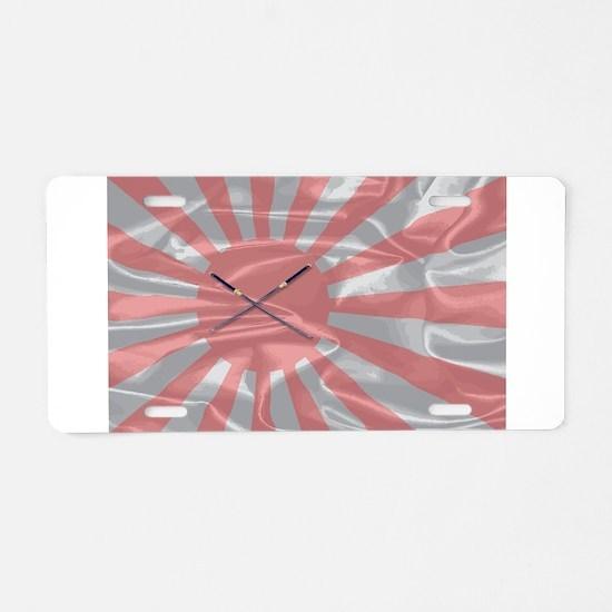 Japanese Silk Flag and Swor Aluminum License Plate