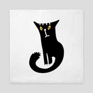 Black frowning cat Queen Duvet