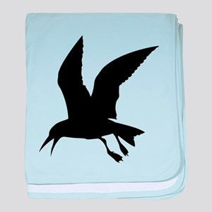 Flying crow silhouette baby blanket