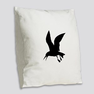 Flying crow silhouette Burlap Throw Pillow