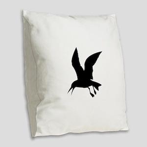 Flying crow silhouette Burlap Throw Pillow