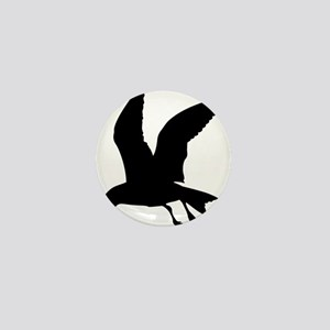 Flying crow silhouette Mini Button