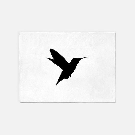 Detailed humming bird silhouette 5'x7'Area Rug