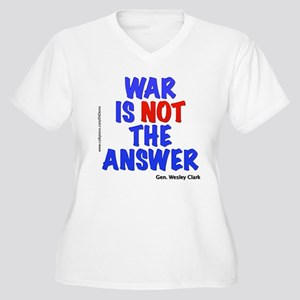 """War No Answer"" Women's Plus Size V-Neck T-Shirt"