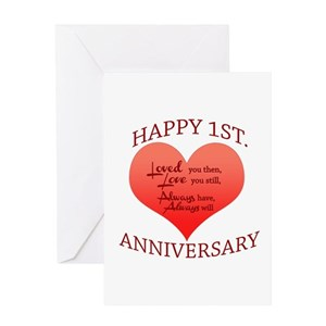 1st wedding anniversary greeting cards cafepress m4hsunfo