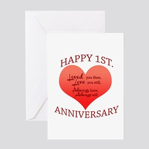 1st anniversary greeting cards cafepress 1st anniversary greeting cards m4hsunfo