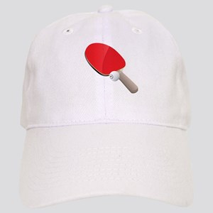 Table tennis red bat and ball Cap