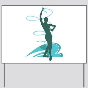 Gymnastic girl on green background Yard Sign