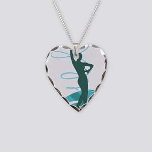 Gymnastic girl on green backg Necklace Heart Charm
