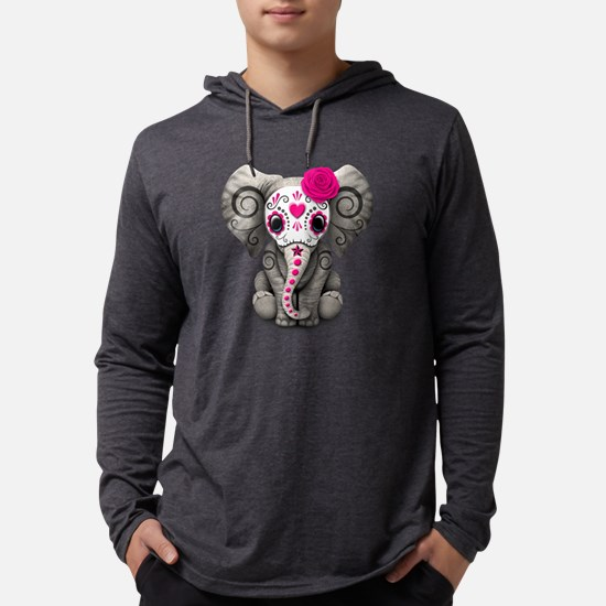 Pink Day of the Dead Sugar Skull Baby Elephant Lon