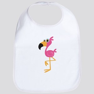 Pink flamingo bird cartoon Bib