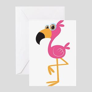 Pink flamingo bird cartoon Greeting Cards
