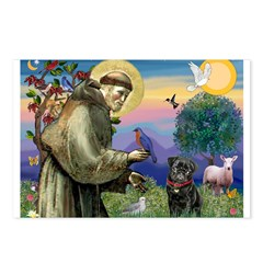 St Francis / Pug Postcards (Package of 8)