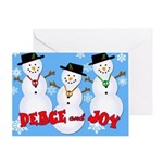 Peace & Joy Snowmen Greeting Card