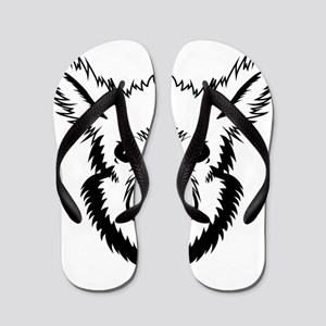 Alpaca face art Flip Flops