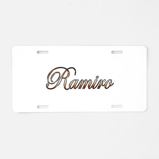 Gold Ramiro Aluminum License Plate